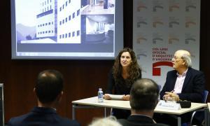 Un moment de la conferència de l'arquitecte Francesc Pernas, ahir a la tarda.