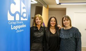 Inés Martí, Neus Farré i Eva Flotats en la presentació de la col·laboració, ahir.