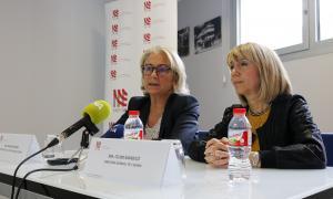 Maria Pilar Díez i Celine Mandicó en la roda de premsa d'ahir a l'Eensm.