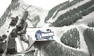 Projecció de la plataforma esquiable de la pista de l'Avet, a Soldeu.