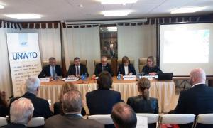 Roda de premsa de presentació del Congrés Mundial de Turisme de Neu i Muntanya a la seu de l'OMT, a Madrid.