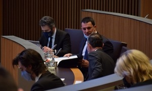 El ministre portaveu, Eric Jover, en una sessió del Consell General.