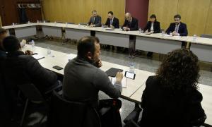Un moment de la darrera reunió entre els representants sindicals i membres del Govern per la reforma de Llei de la funció pública.