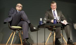 Bartomeu i Abril en la presentació del llibre a l'Andorra Park Hotel, ahir.