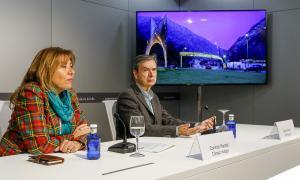 Marsol i Adserà en la presentació de l'arc d'entrada a Andorra la Vella, ahir.