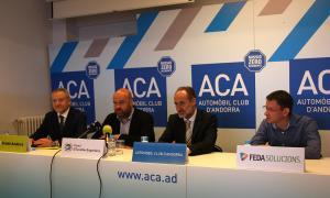 Mas, Calvet, Fraissinet i Forné en la presentació, ahir, de la sisena Jornada de Mobilitat Elèctrica.