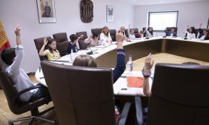 Un moment del Consell d'infants que es va celebrar ahir al comú d'Andorra la Vella.