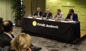 Josep Escoriza, Ramon Lladós, Arsenio Otero, i Joaquín de Valenzuela, ahir a la presentació de la solució tecnològica.