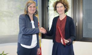 L'ambaixadora de França a Andorra, Jocelyne Caballero, i la ministra d'Afers Exteriors, Maria Ubach.