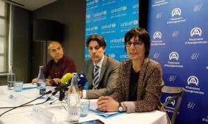 Presentació de l'acció solidària Ioga per Unicef, ahir a la tarda.