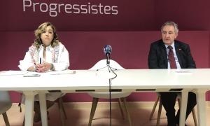 Elisabet Zoppetti i Jaume Bartumeu ahir a la seu de Progressistes-SDP.