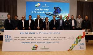 Els responsables de les estacions d'esquí del Pirineu lleidatà en la presentació.
