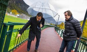 El conseller de Medi ambient i Innovació, David Astrié i Joan Ramon Moya.