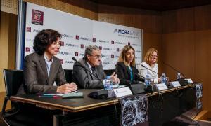 Mª Carmen Gómez, Àngel Ros, Mireia Maestre i Auxiliadora González van presentar ahir l'Olimpíada a la seu social de MoraBanc.