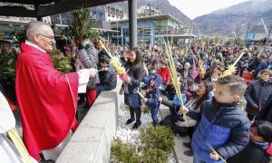 Els infants s'acosten a mossèn Ramon Sàrries perquè beneeixi les seves palmes i palmons.