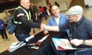 Rubio, amb Pieras i el dibuixant Carlos Puerta, l'abril del 2019 a l'última edició de la Massana Còmic.