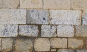 Part de la façana de la catedral de Santa Maria encara amb restes de la bretolada.