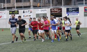 Un moment del primer entrenament del VPC a l'Estadi Nacional.