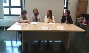 Maria Martí, Inés Martí, Clàudia Rodrigues i Núria Rocamora en la roda de premsa, ahir.
