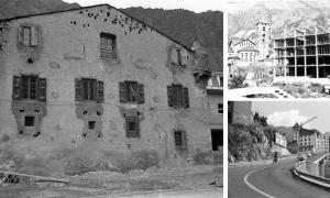 Tres símbols de la nova Andorra que Peig retrata amb la seva Leica: la reforma de Casa de la Vall (1962), el nou edifici del comú de la capital (1982), i el carrer doctor Vilanova, sobre el forat on el 1985 s'aixecarà l'edifici administratiu