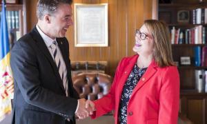 L'ambaixadora de Costa Rica va visitar oficialment el Comú d'Andorra la Vella, ahir.