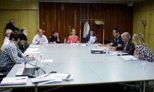 La ministra de Medi Ambient, Sílvia Calvó, va presidir la reunió, ahir.