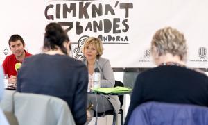 Rosillo i Cusmir durant la presentació de la Gimkna't a7 bandes, ahir.
