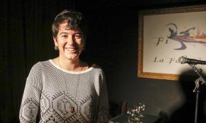 La cantant vallesana, en l'entrega de premis, diumenge a l'escenari de la Fada.
