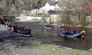 Embarcacions de ràfting al Noguera Pallaresa l'abril d'aquest any.