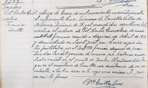 Entrada del llibre d'òbits de Canillo amb l'enterrament de Pol Carlos Tricochse.</p>