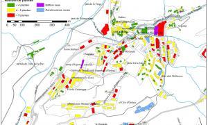 Plànol amb les dades d'edificis per nombre de plantes de la parròquia d'Ordino.