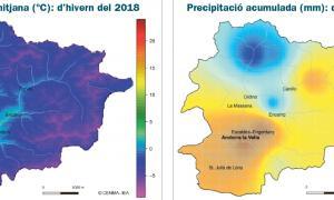 Mapes del butlletí climàtic de l'hivern 2018 que publica el Cenma.