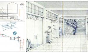 Tram d'una de les galeries comercials del complex projectat per l'arquitecte català Bartomeu Llongueras (dreta), que constava de dues plantes soterrades (a dalt), amb 90 locals, un restaurant panoràmic a la primera i sortida del telefèric cap a Prat Primer, a la segona; a baix, secció de l'avantprojecte de Sostres, anterior i menys ambiciós que el de Llongueras: una galeria soterrada i un edifici vertical que connectava amb Prat de la Creu, sense telefèric.