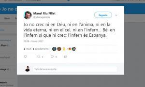 """""""L'infern és Espanya"""", un dels  tuits del professor de Tremp citat"""