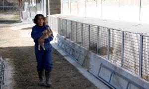 """La propietari de la granja de conills ecològics """"Finca Canemar"""", Isabel Perera, a l'exterior de l'explotació."""
