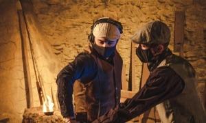 Richy Vuelcom i John Holt durant la gravació a la Farga Rossell.