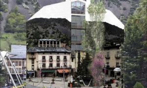 mural, façana, Sam Bosque, Andorra, Sam Bosque, paret mitgera