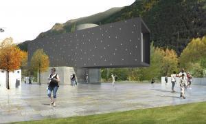 Andorra, equipaments, frescos, Santa Coloma, rotonda Enclar, conjunt mural, Jordi Batlle, concurs, museu, sala d'exposicions, Gelabert, projecte