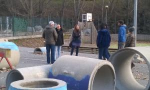 Els candidats de CC+DA+L'A ahir al camp de Santa Caterina.