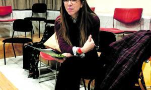 L'actriu catalana, en l'assaig de dimecres amb l'ONCA (Foto: T. Areny).