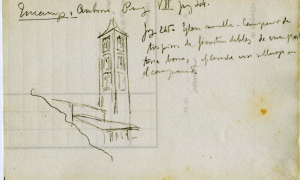 Croquis de l'església de Santa Coloma amb anotacions manuscrites de Domènech i Montaner.
