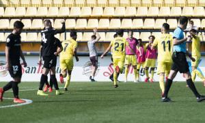 El migcampista del Vila-real B, Sergio Lozano, celebra el 2 a 1 contra l'FC Andorra.