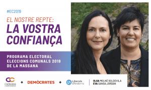 El programa de la candidatura de CC+DA+L'A, encapçalada per dues dones: Olga Molné i Eva Sansa.