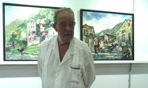 El pintor Antoni Vives-Fierro a la galeria Art al Set, ahir al migdia.
