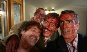 Cartes, Vilella, Casamajor i Llauradó, al rodatge del clip de 'All the Pretty Horses', dissabte.