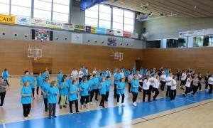Els padrins van protagonitzar un seguit d'exhibicions de gimnàstica.