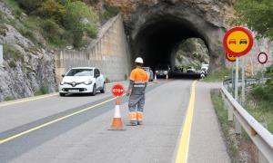 L'actual túnel de Tresponts, un cop acabades les voladures de prova d'ahir.