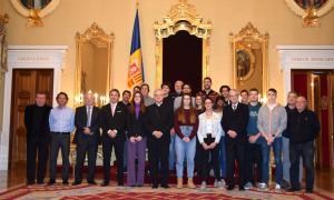 Els integrants de la delegació andorrana al Palau Episcopal