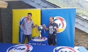 Adolfo Baines i Marc Rodríguez, en la trobada prèvia a la final de la Copa.