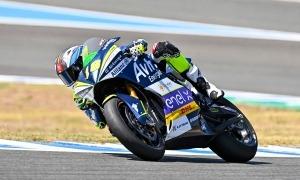 El pilot de l'Avintia Esponsorama Racing ahir al Circuit de Jerez.